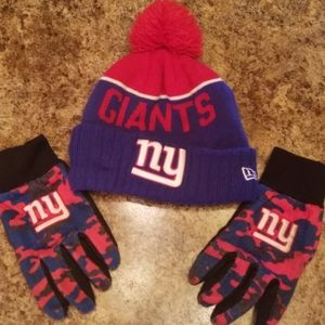 NY Giants mens hat and gloves